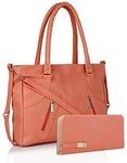 Flora Premium PU Leather Women's Handbag And Wallet Clutch Combo