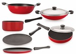 Amazon : Nirlon Non-Stick Aluminium Cookware Set, 6-Pieces, Red/Black (FT12CTFP12KD12SPBAC_45_3)