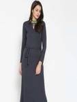 Label Ritu Kumar Women Navy Blue Solid Maxi Dress