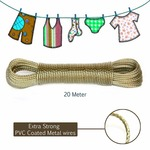 Dewberries 20 Meter PVC Coated Steel Anti-Rust Wire Rope Washing Line Clothesline with 2 Plastic Hooks for for Drying/Hanging Clothes (Pack of 2 Color May Vary)