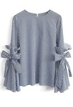 Rimsha Wear Blue and White Polycotton Bell Sleeve top