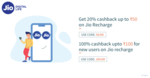 Get 100 % cashback  upto rs 100 on jio recharge