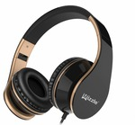 (Apply 500 off coupon)    Wired Headphones, Mizzle MZ-65 On-Ear Stereo Sound Bass Portable Foldable Wired Headsets with Microphone and Volume Control for iPhone, Android Smartphones and Tablets (Black/Gold)
