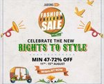 Jabong Fashion Freedom Sale 11-15 Aug: 47-72% off + Extra 10% Cashback upto 500₹ using ICICI Cards