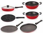 Nirlon Non-Stick Aluminium Cookware Set, 6-Pieces, Red