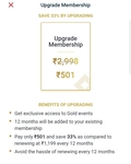 Zomato gold - 2nd year membership at 501 for existing customers