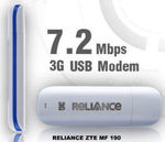 RELIANCE ZTE MF 190 7.2 MBP 3G USB Data Card for Rs.1175