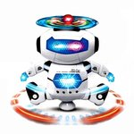 Asian Hobby Crafts Music Robot Toy with Naughty Dancing LED Light (White)