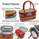 Prawnhz Lunch Bags Stylish Stripe Insulated Thermal Tote Tiffin Bag for Office Women/Kids to School,Exclud Lunch Boxes