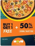 Buy 1 Get 1 Free on Mojo Pizza + 50% Extra upto 100 instant discount + Use 10% Piggybank coins via Zomato