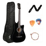 Juarez Acoustic Guitar, 38 Inch Cutaway With Pick Guard, 38CPG With Bag, Strings, Pick And Strap, Black