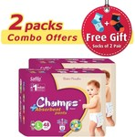 Champs Pant Style Diaper, Large - Pack of 2 (48×2) free socks 2 pair