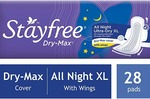 Stayfree Dry Max All Night Ultra Dry Napkins - 28 Pads (Extra Large)