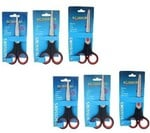 Premsons Stainless Steel Scissor Set, 6-Pieces, Black and Red