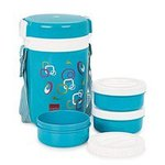 [Lowest ; check pc's] Cello Super Executive Insulated 3 Container Lunch Carrier, Blue