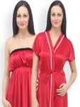 Klamotten Red Tube Nightdress with Robe N64-X04
