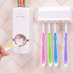 Toothpaste Dispenser Automatic with 5 Toothbrush Holder with Sticky Suction Pad  95%OFF