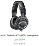 Audio Technica ATH-M50x Headphone  (Black, Over the Ear) | 15-18 March