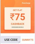 100% Cashback: FLAT 75 Cashback On 75 Recharge/Bill Payment Using FreeCharge ( User Specific)