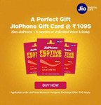 Jio Phone Gift Card @1095 (Get Jio Phone + 6 Months Unlimited Voice & Data) Rs 101 Data Voucher for FREE(@501 Refundable)